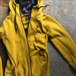 Volcom Let It Storm Yellow Zip Up Hoodie S…